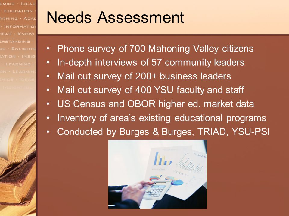 Needs Assessment Phone survey of 700 Mahoning Valley citizens In-depth interviews of 57 community leaders Mail out survey of 200+ business leaders Mai