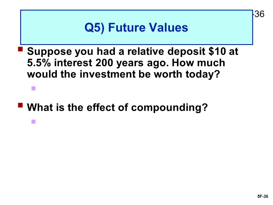 2-36 Q5) Future Values  Suppose you had a relative deposit $10 at 5.5% interest 200 years ago.