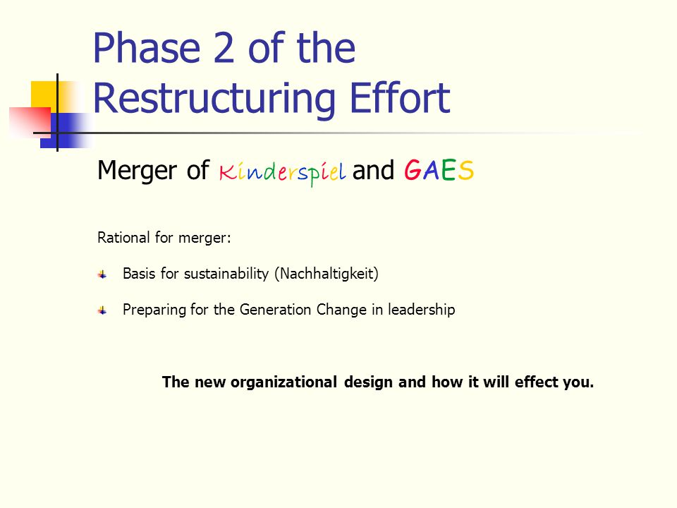 Phase 2 of the Restructuring Effort Merger of Kinderspiel and GAES Rational for merger: Basis for sustainability (Nachhaltigkeit) Preparing for the Generation Change in leadership The new organizational design and how it will effect you.
