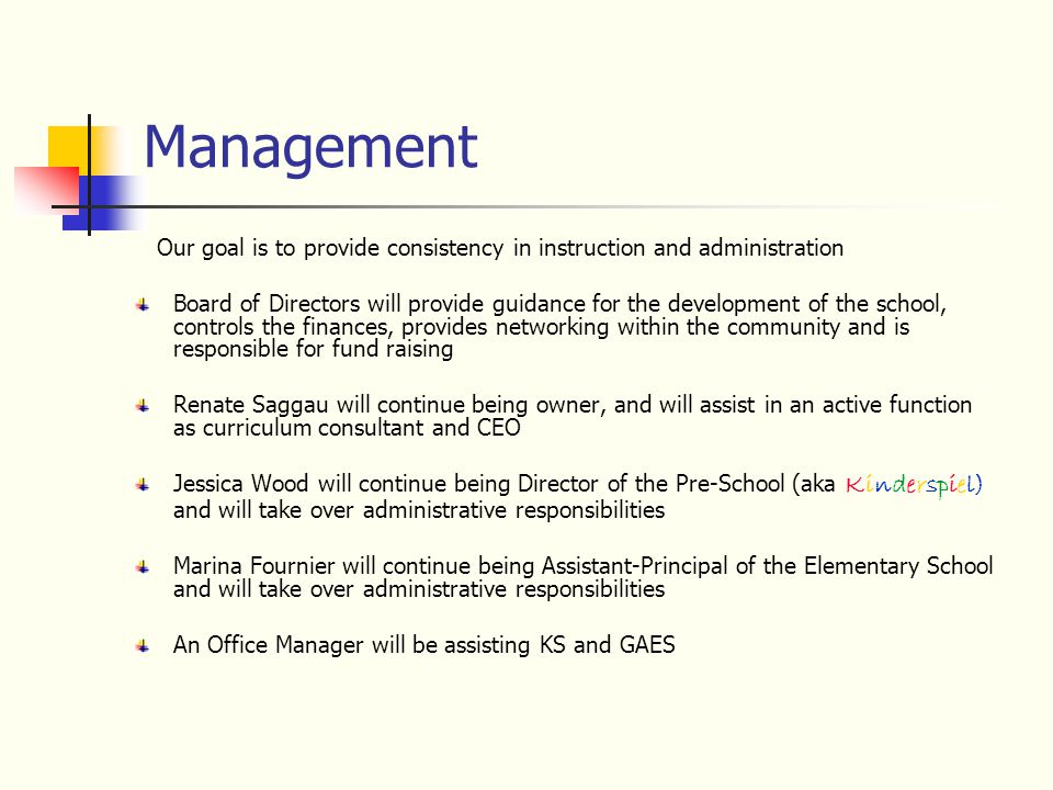 Management Our goal is to provide consistency in instruction and administration Board of Directors will provide guidance for the development of the sc