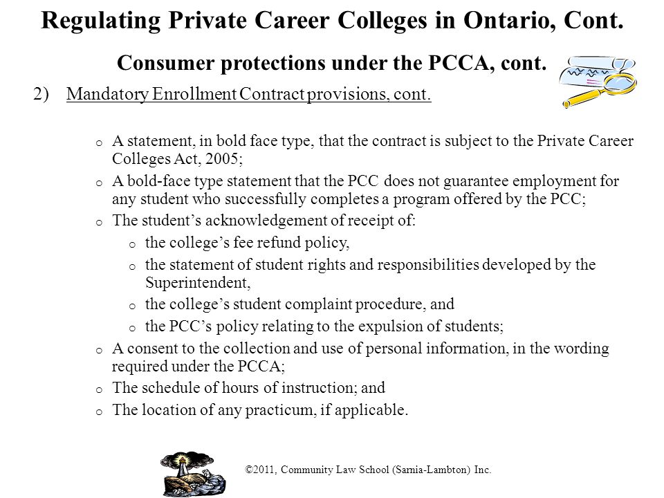 Regulating Private Career Colleges in Ontario, Cont.