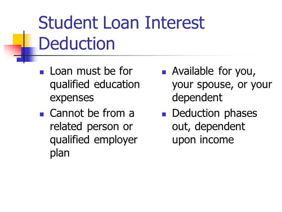 Student Loan Interest Deduction Loan must be for qualified education expenses Cannot be from a related person or qualified employer plan Available for