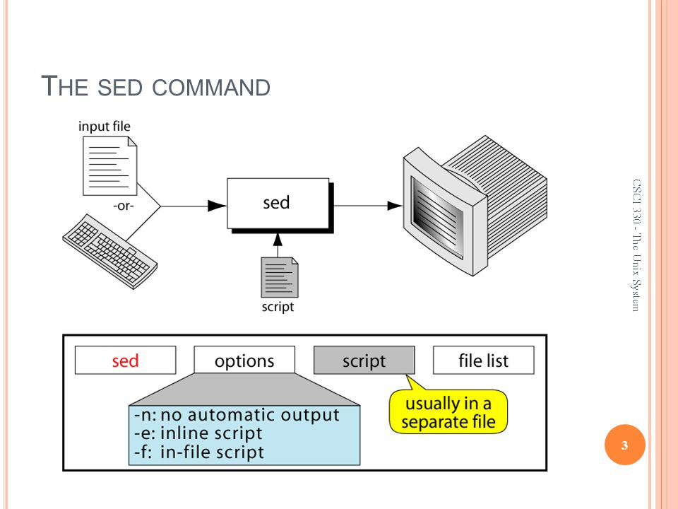 W RITE F ILE COMMAND Syntax: w filename Write the pattern space to filename The filename will be created (or truncated) before the first input line is read all w commands which refer to the same filename are output through the same FILE stream 44 CSCI 330 - The Unix System