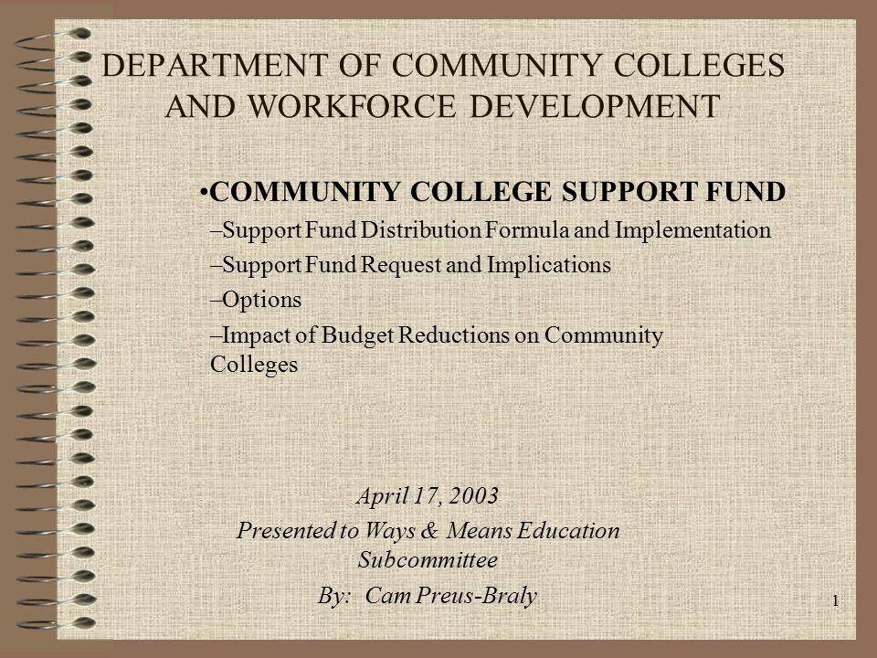 1 DEPARTMENT OF COMMUNITY COLLEGES AND WORKFORCE DEVELOPMENT COMMUNITY COLLEGE SUPPORT FUND –Support Fund Distribution Formula and Implementation –Support Fund Request and Implications –Options –Impact of Budget Reductions on Community Colleges April 17, 2003 Presented to Ways & Means Education Subcommittee By: Cam Preus-Braly