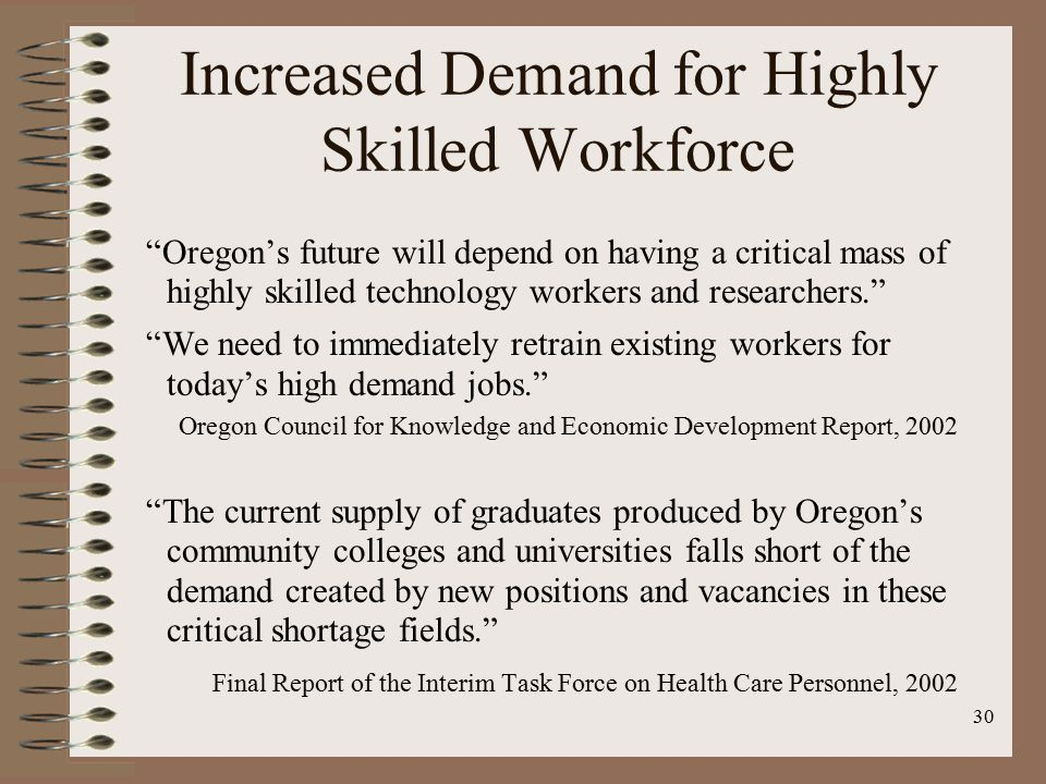 30 Increased Demand for Highly Skilled Workforce Oregon's future will depend on having a critical mass of highly skilled technology workers and researchers. We need to immediately retrain existing workers for today's high demand jobs. Oregon Council for Knowledge and Economic Development Report, 2002 The current supply of graduates produced by Oregon's community colleges and universities falls short of the demand created by new positions and vacancies in these critical shortage fields. Final Report of the Interim Task Force on Health Care Personnel, 2002