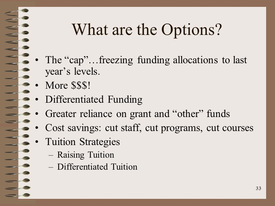 33 What are the Options. The cap …freezing funding allocations to last year's levels.