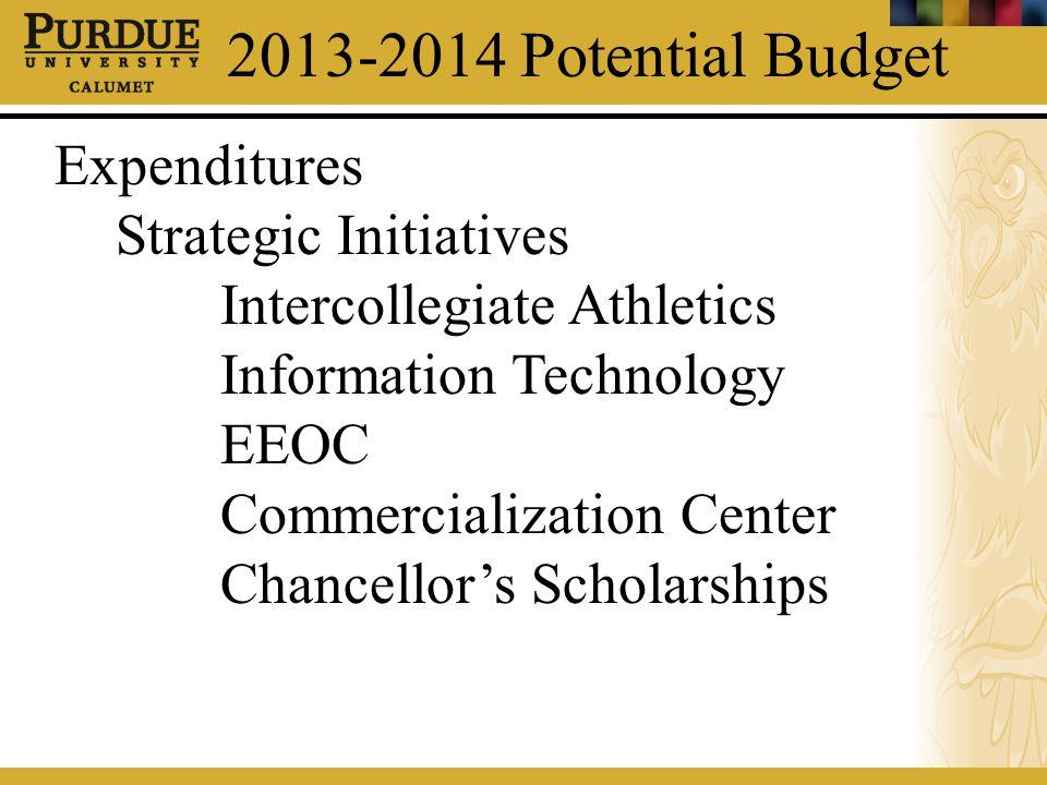 2013-2014 Potential Budget Expenditures Strategic Initiatives Intercollegiate Athletics Information Technology EEOC Commercialization Center Chancello