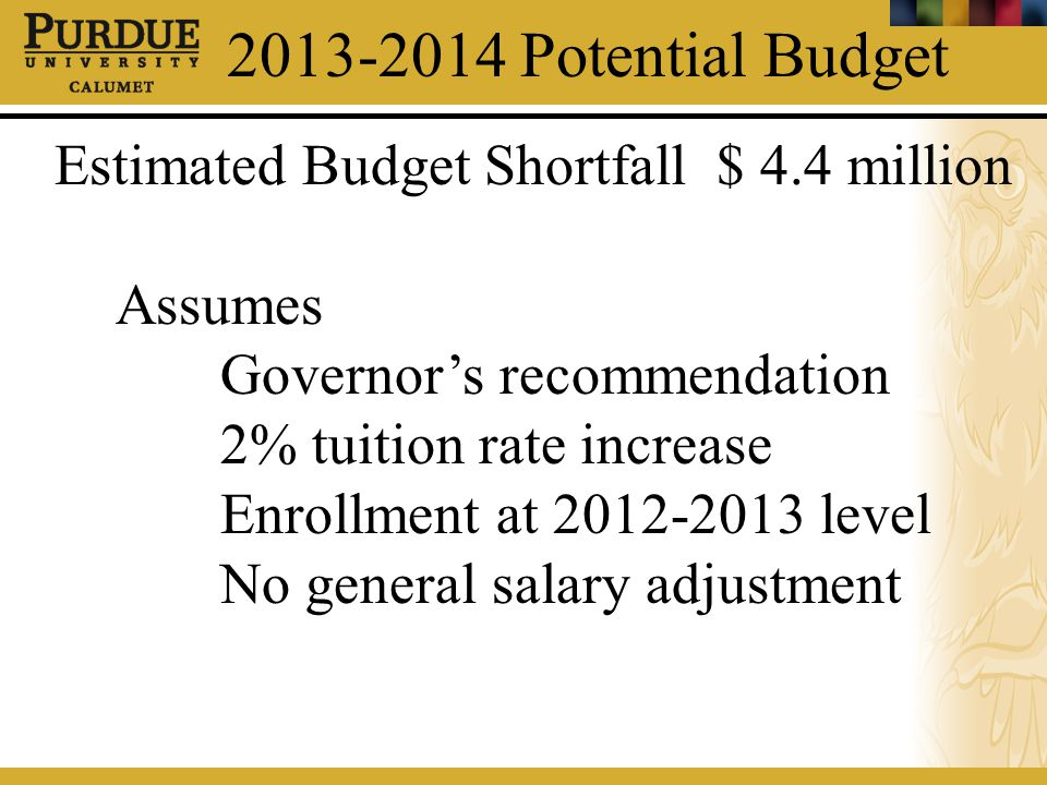 2013-2014 Potential Budget Estimated Budget Shortfall $ 4.4 million Assumes Governor's recommendation 2% tuition rate increase Enrollment at 2012-2013