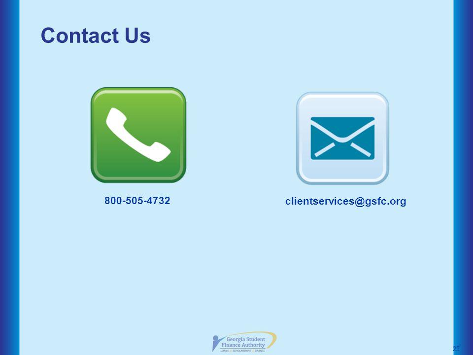 Contact Us 25 800-505-4732 clientservices@gsfc.org
