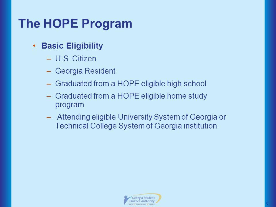 The HOPE Program Basic Eligibility –U.S.