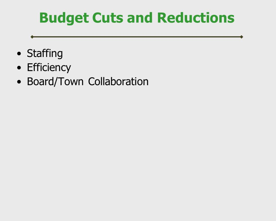 Budget Cuts and Reductions Total Staffing Reductions 17 FTE Teaching Positions –7 teachers at elementary schools –4 teachers at middle school –4 teachers at high school –2 teachers at Alice Peck Pre-School 2 FTE Paraprofessional Positions –2 paraprofessionals at Alice Peck 1 FTE Clerical Position –1 clerical No impact on quality of instruction
