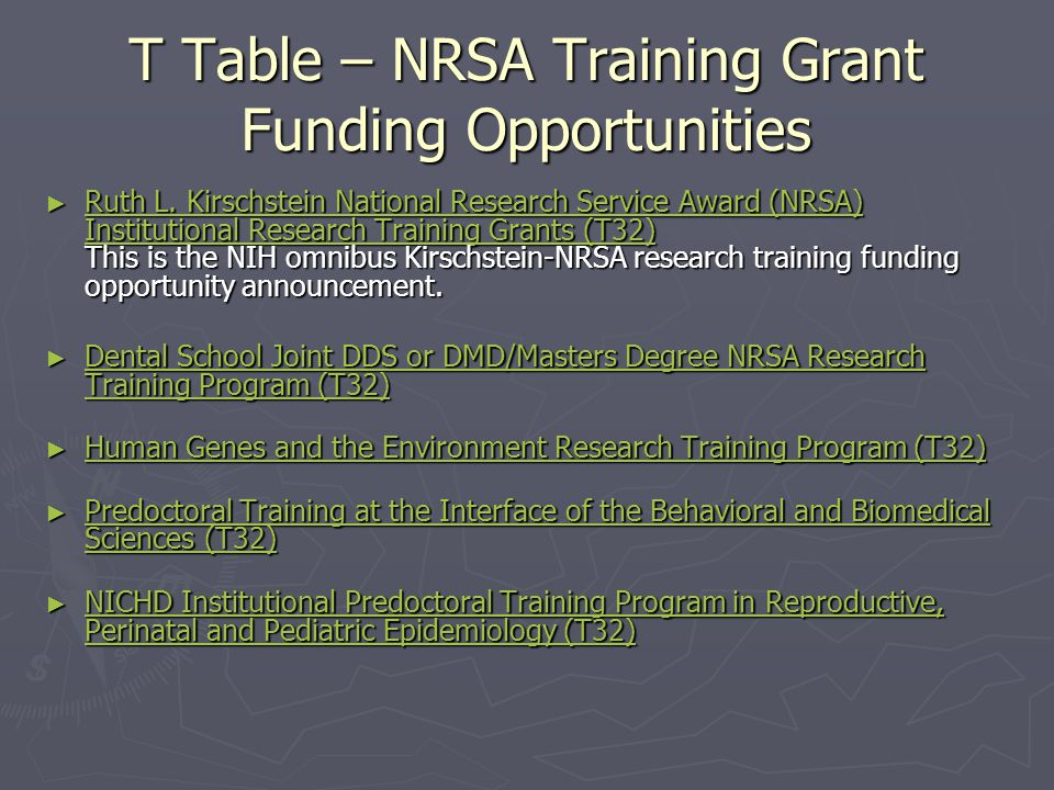 T Table – NRSA Training Grant Funding Opportunities ► Ruth L.