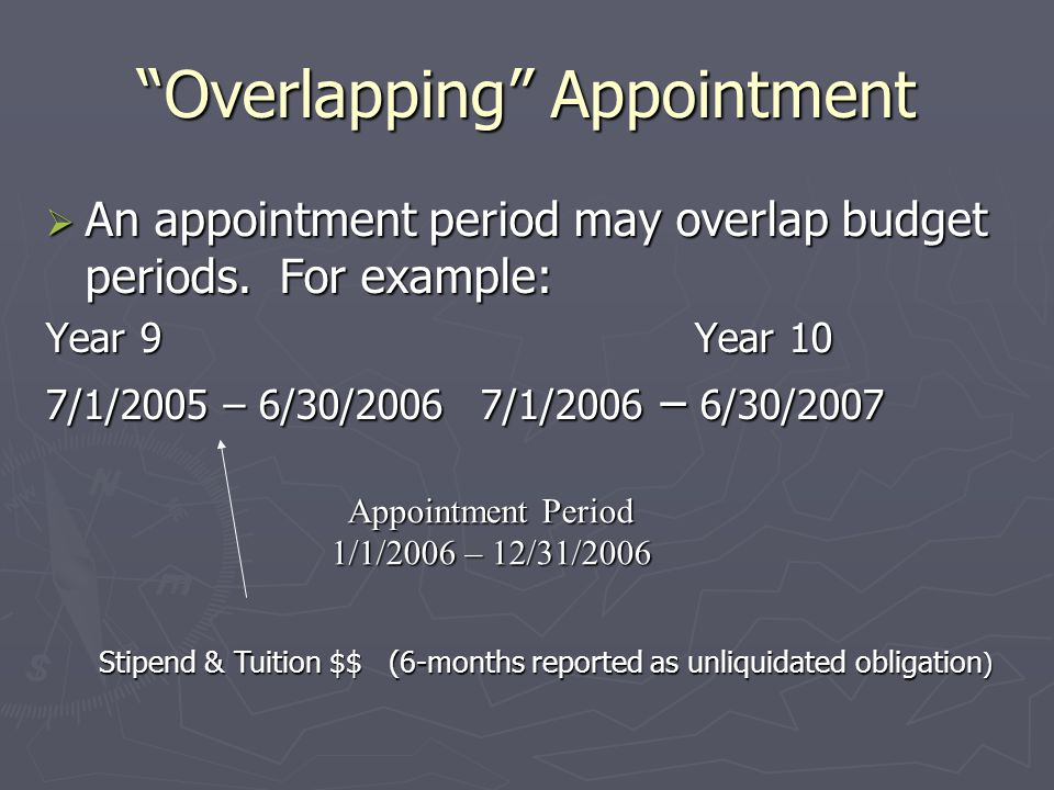 Overlapping Appointment  An appointment period may overlap budget periods.