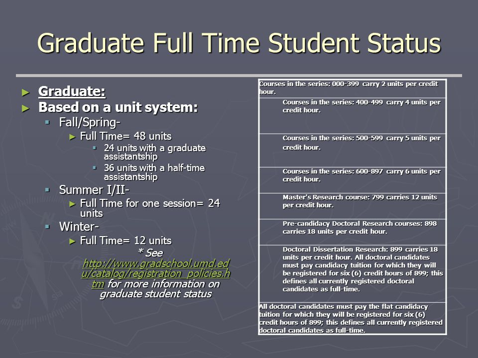 Graduate Full Time Student Status ► Graduate: ► Based on a unit system:  Fall/Spring- ► Full Time= 48 units  24 units with a graduate assistantship  36 units with a half-time assistantship  Summer I/II- ► Full Time for one session= 24 units  Winter- ► Full Time= 12 units * See http://www.gradschool.umd.ed u/catalog/registration_policies.h tm for more information on graduate student status http://www.gradschool.umd.ed u/catalog/registration_policies.h tm http://www.gradschool.umd.ed u/catalog/registration_policies.h tm Courses in the series: 000-399 carry 2 units per credit hour.