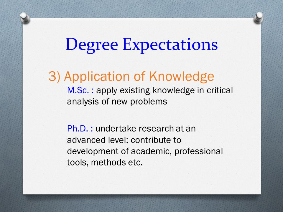 Degree Expectations 3) Application of Knowledge M.Sc.