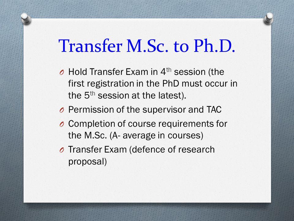 Transfer M.Sc. to Ph.D.