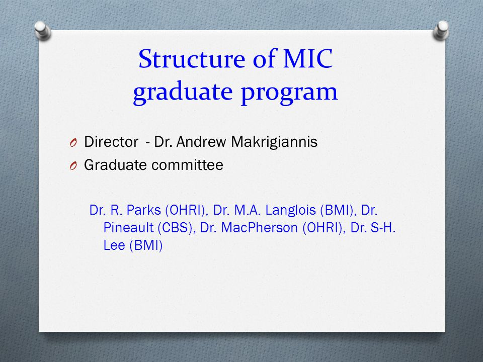 Structure of BCH graduate program O Director - Dr.