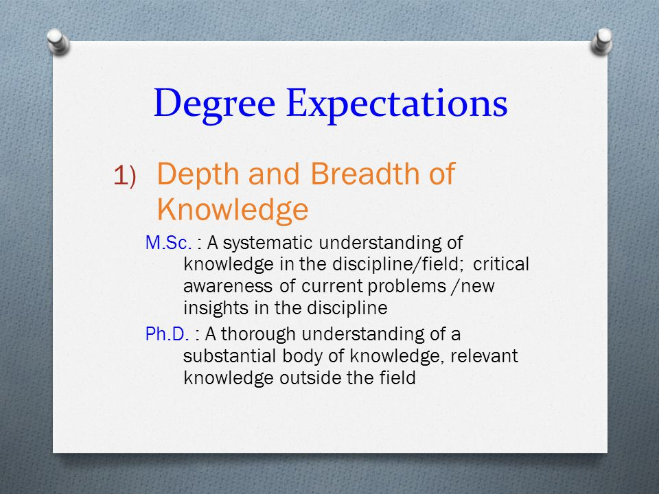 Degree Expectations 1) Depth and Breadth of Knowledge M.Sc.