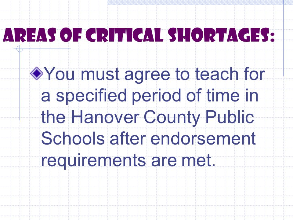 Areas of critical shortages: You must agree to teach for a specified period of time in the Hanover County Public Schools after endorsement requirements are met.