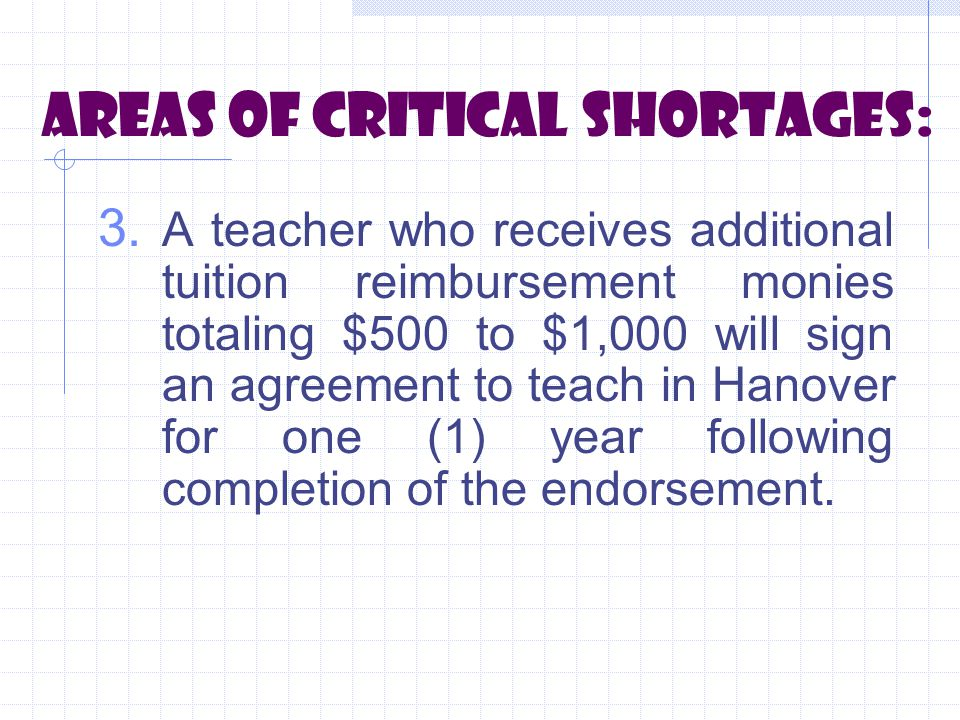 Areas of critical shortages: 3.