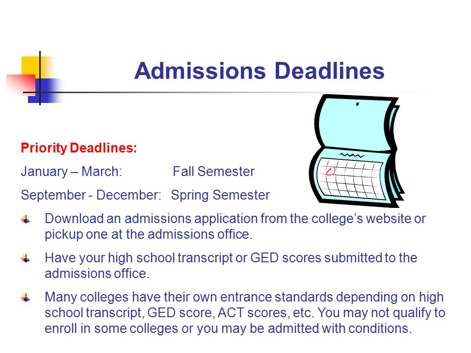 Admissions Deadlines Priority Deadlines: January – March: Fall Semester September - December: Spring Semester Download an admissions application from the college's website or pickup one at the admissions office.