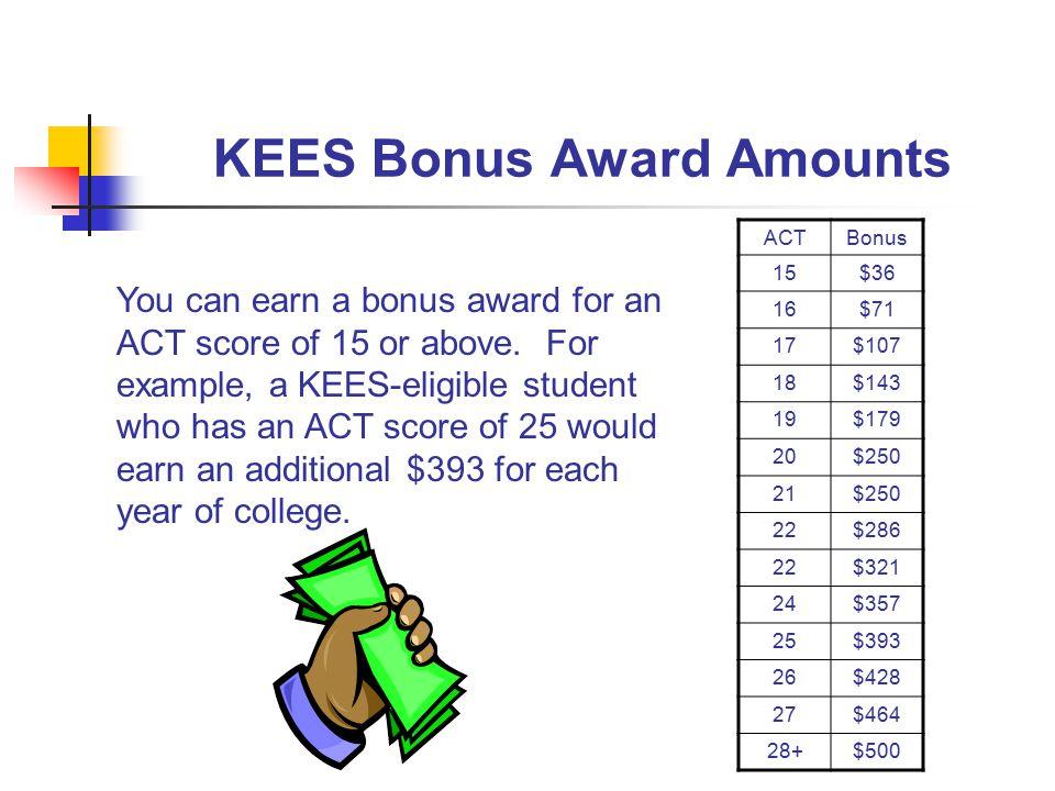 KEES Bonus Award Amounts ACTBonus 15$36 16$71 17$107 18$143 19$179 20$250 21$250 22$286 22$321 24$357 25$393 26$428 27$464 28+$500 You can earn a bonus award for an ACT score of 15 or above.