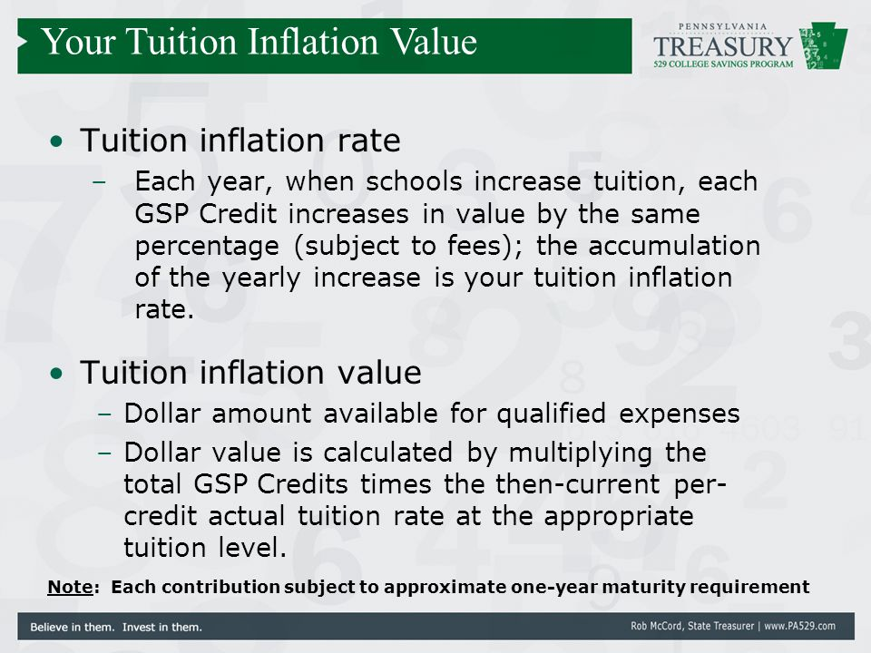 Tuition inflation rate –Each year, when schools increase tuition, each GSP Credit increases in value by the same percentage (subject to fees); the acc