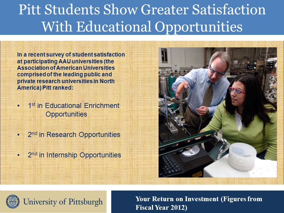Pitt Students Show Greater Satisfaction With Educational Opportunities Your Return on Investment (Figures from Fiscal Year 2012) In a recent survey of