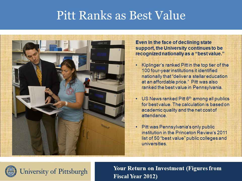 Pitt Ranks as Best Value Your Return on Investment (Figures from Fiscal Year 2012) Even In the face of declining state support, the University continues to be recognized nationally as a best value. Kiplinger's ranked Pitt in the top tier of the 100 four-year institutions it identified nationally that deliver a stellar education at an affordable price. Pitt was also ranked the best value in Pennsylvania.