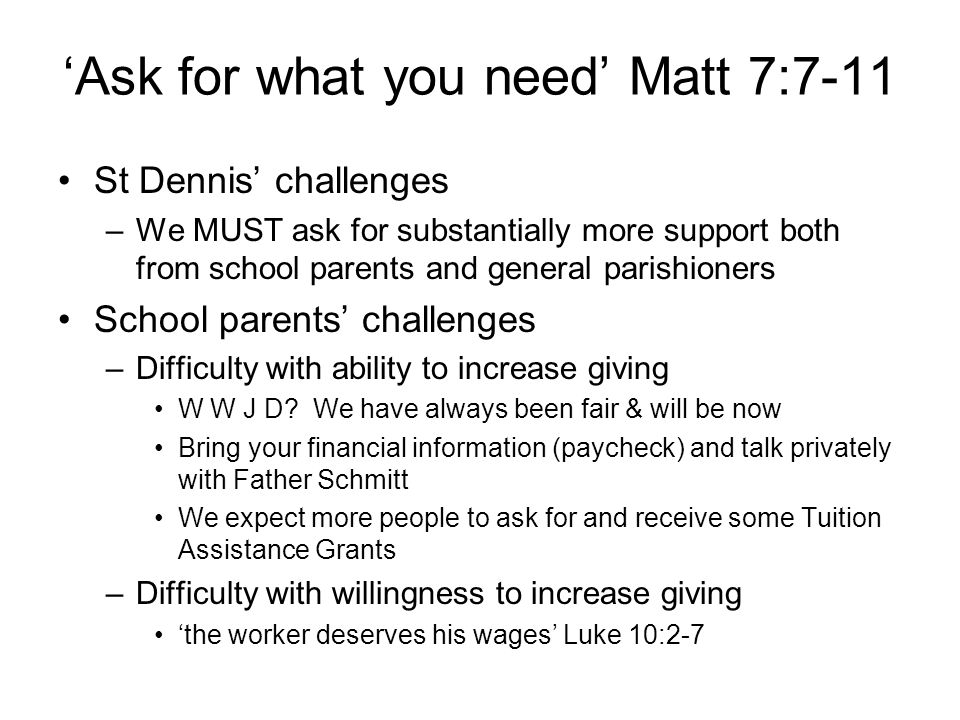 'Ask for what you need' Matt 7:7-11 St Dennis' challenges –We MUST ask for substantially more support both from school parents and general parishioners School parents' challenges –Difficulty with ability to increase giving W W J D.
