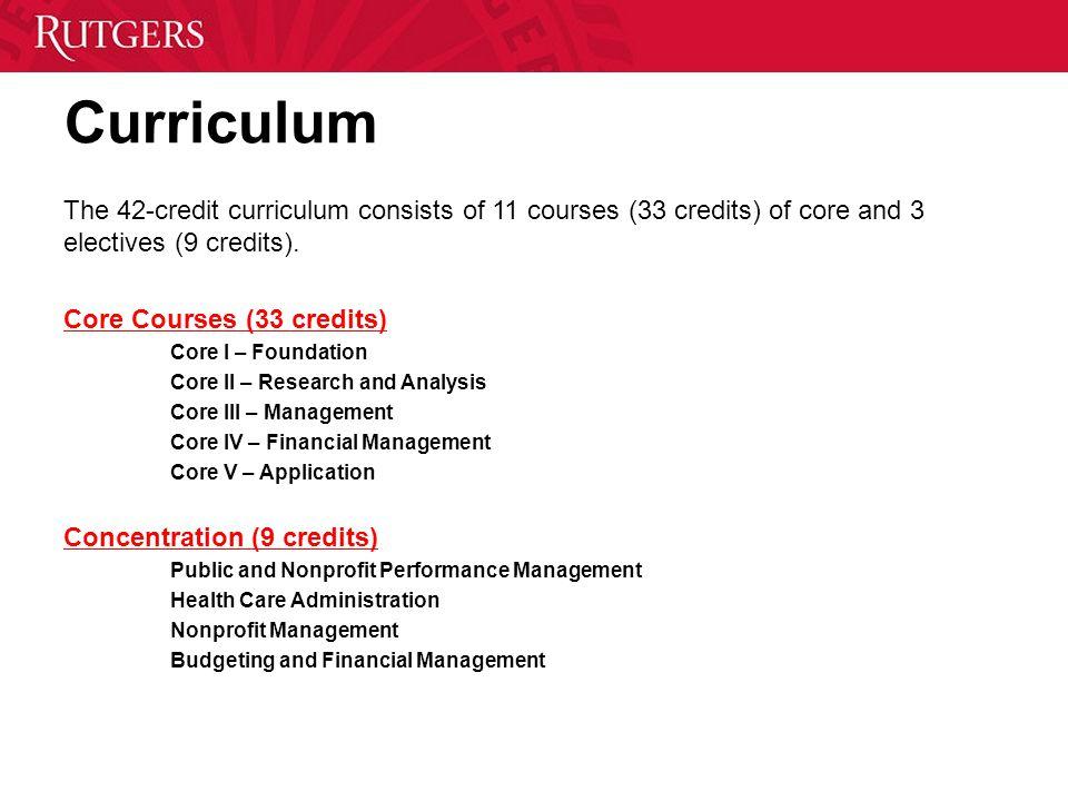 Curriculum The 42-credit curriculum consists of 11 courses (33 credits) of core and 3 electives (9 credits). Core Courses (33 credits) Core I – Founda