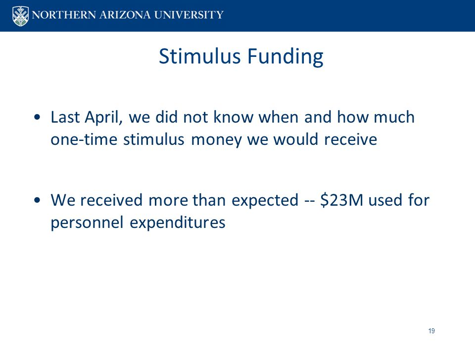 Stimulus Funding Last April, we did not know when and how much one-time stimulus money we would receive We received more than expected -- $23M used for personnel expenditures 19