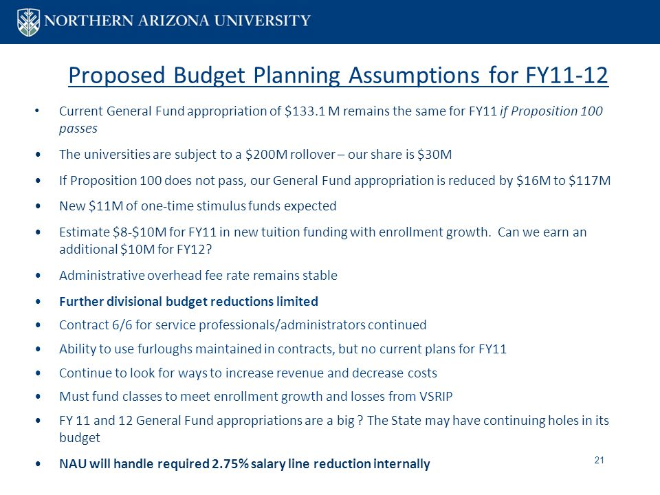 Proposed Budget Planning Assumptions for FY11-12 Current General Fund appropriation of $133.1 M remains the same for FY11 if Proposition 100 passes The universities are subject to a $200M rollover – our share is $30M If Proposition 100 does not pass, our General Fund appropriation is reduced by $16M to $117M New $11M of one-time stimulus funds expected Estimate $8-$10M for FY11 in new tuition funding with enrollment growth.