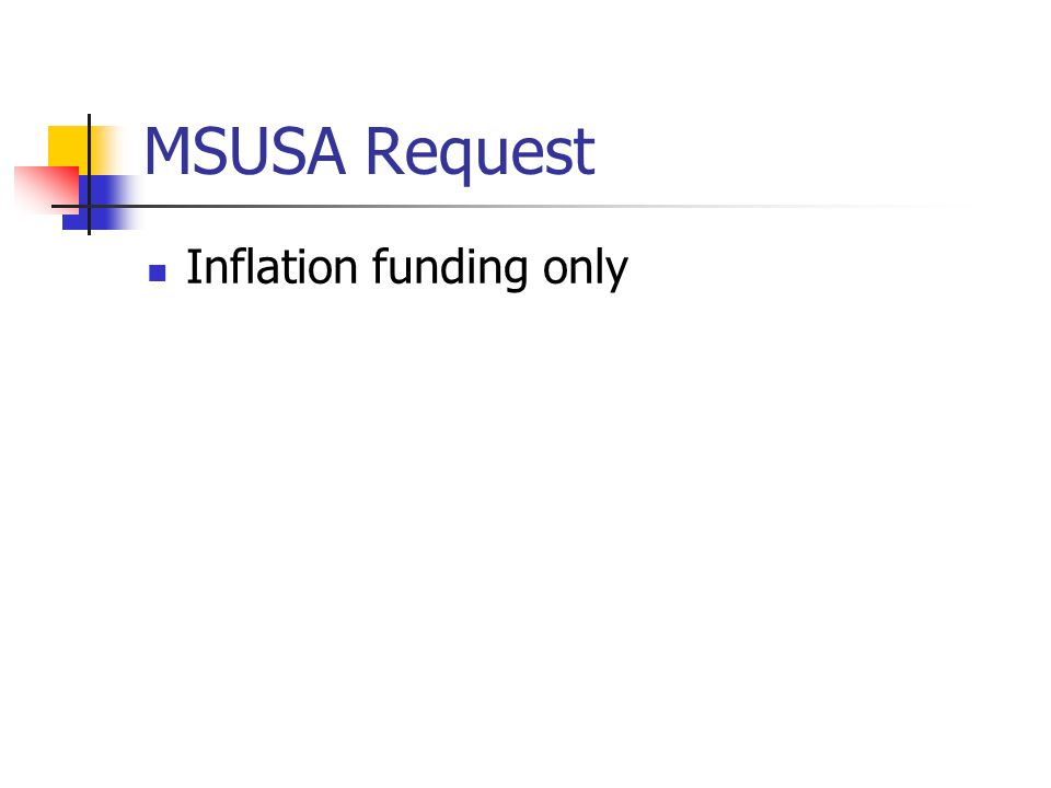 MSUSA Request Inflation funding only