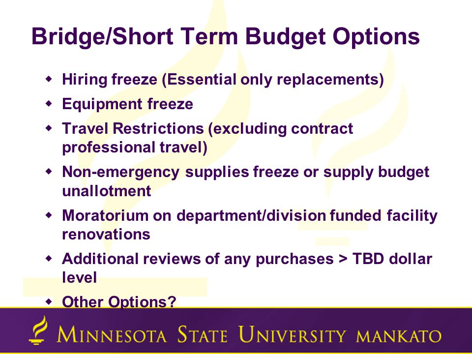 Bridge/Short Term Budget Options  Hiring freeze (Essential only replacements)  Equipment freeze  Travel Restrictions (excluding contract professional travel)  Non-emergency supplies freeze or supply budget unallotment  Moratorium on department/division funded facility renovations  Additional reviews of any purchases > TBD dollar level  Other Options