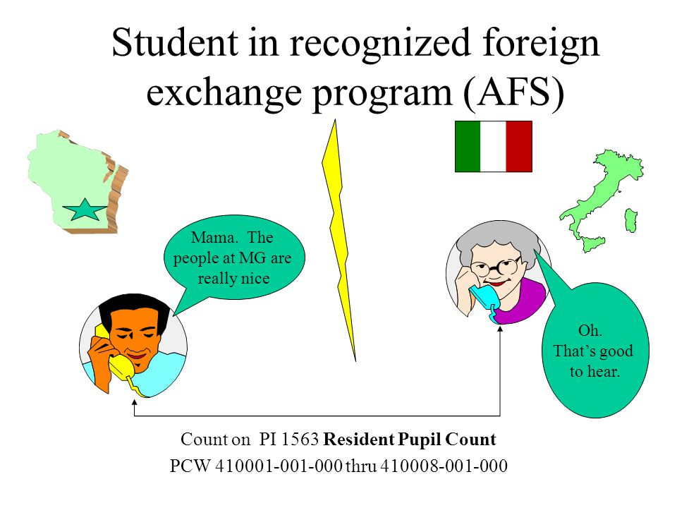 Student in recognized foreign exchange program (AFS) Count on PI 1563 Resident Pupil Count PCW 410001-001-000 thru 410008-001-000 Mama.