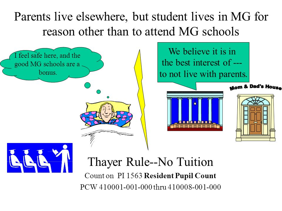 Parents live elsewhere, but student lives in MG for reason other than to attend MG schools Thayer Rule--No Tuition Count on PI 1563 Resident Pupil Count PCW 410001-001-000 thru 410008-001-000 I feel safe here, and the good MG schools are a bonus.