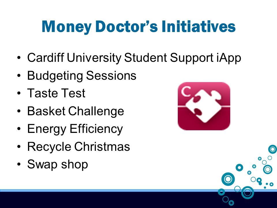 Money Doctor's Initiatives Cardiff University Student Support iApp Budgeting Sessions Taste Test Basket Challenge Energy Efficiency Recycle Christmas Swap shop