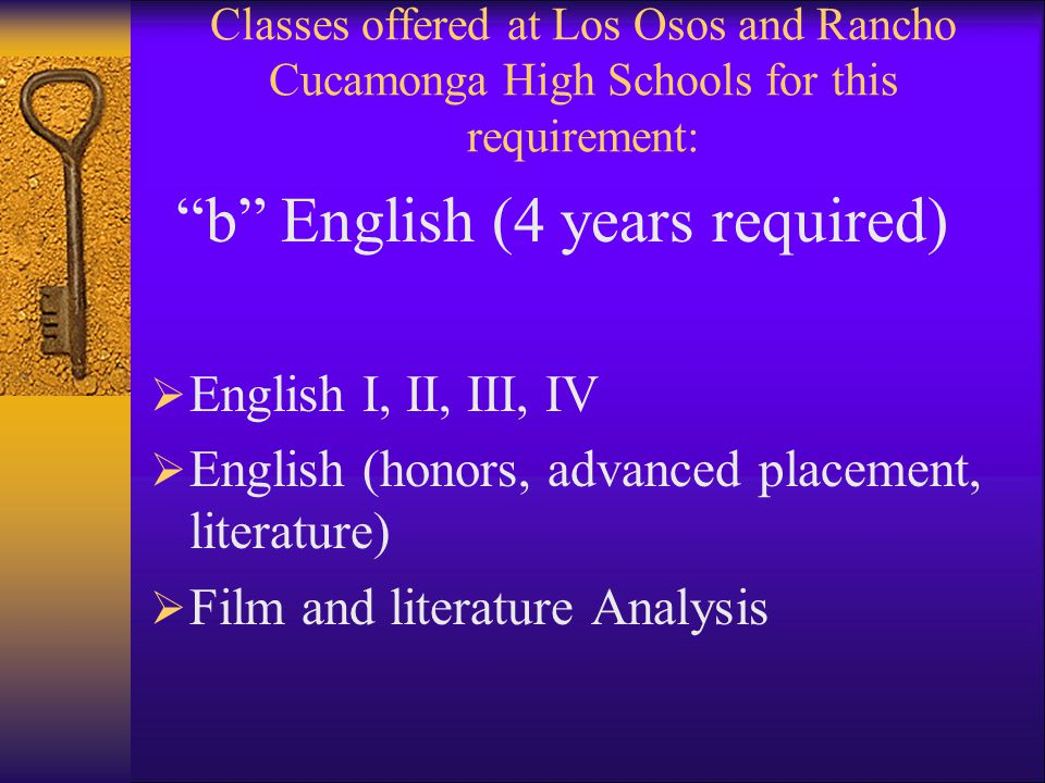 Classes offered at Los Osos and Rancho Cucamonga High Schools for this requirement: b English (4 years required)  English I, II, III, IV  English (honors, advanced placement, literature)  Film and literature Analysis