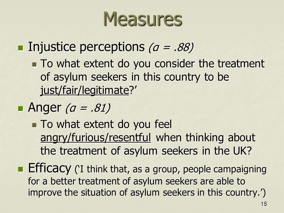 15Measures Injustice perceptions (α =.88) Injustice perceptions (α =.88) To what extent do you consider the treatment of asylum seekers in this country to be just/fair/legitimate?' To what extent do you consider the treatment of asylum seekers in this country to be just/fair/legitimate?' Anger (α =.81) Anger (α =.81) To what extent do you feel angry/furious/resentful when thinking about the treatment of asylum seekers in the UK.