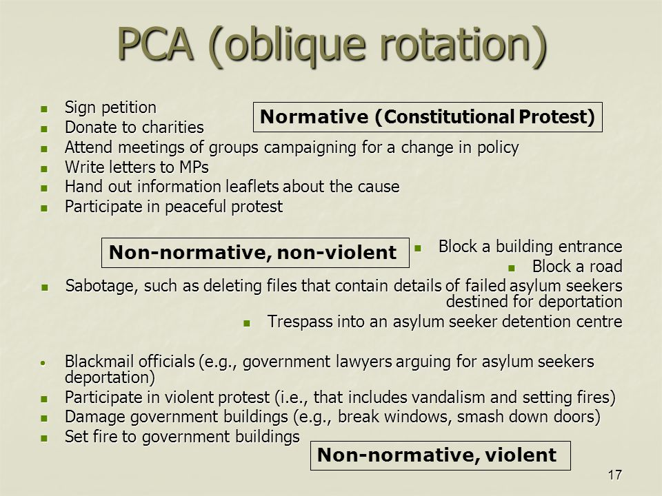 17 PCA (oblique rotation) Sign petition Sign petition Donate to charities Donate to charities Attend meetings of groups campaigning for a change in policy Attend meetings of groups campaigning for a change in policy Write letters to MPs Write letters to MPs Hand out information leaflets about the cause Hand out information leaflets about the cause Participate in peaceful protest Participate in peaceful protest Block a building entrance Block a building entrance Block a road Block a road Sabotage, such as deleting files that contain details of failed asylum seekers destined for deportation Sabotage, such as deleting files that contain details of failed asylum seekers destined for deportation Trespass into an asylum seeker detention centre Trespass into an asylum seeker detention centre  Blackmail officials (e.g., government lawyers arguing for asylum seekers deportation) Participate in violent protest (i.e., that includes vandalism and setting fires) Participate in violent protest (i.e., that includes vandalism and setting fires) Damage government buildings (e.g., break windows, smash down doors) Damage government buildings (e.g., break windows, smash down doors) Set fire to government buildings Set fire to government buildings Normative ( Constitutional Protest) Non-normative, non-violent Non-normative, violent