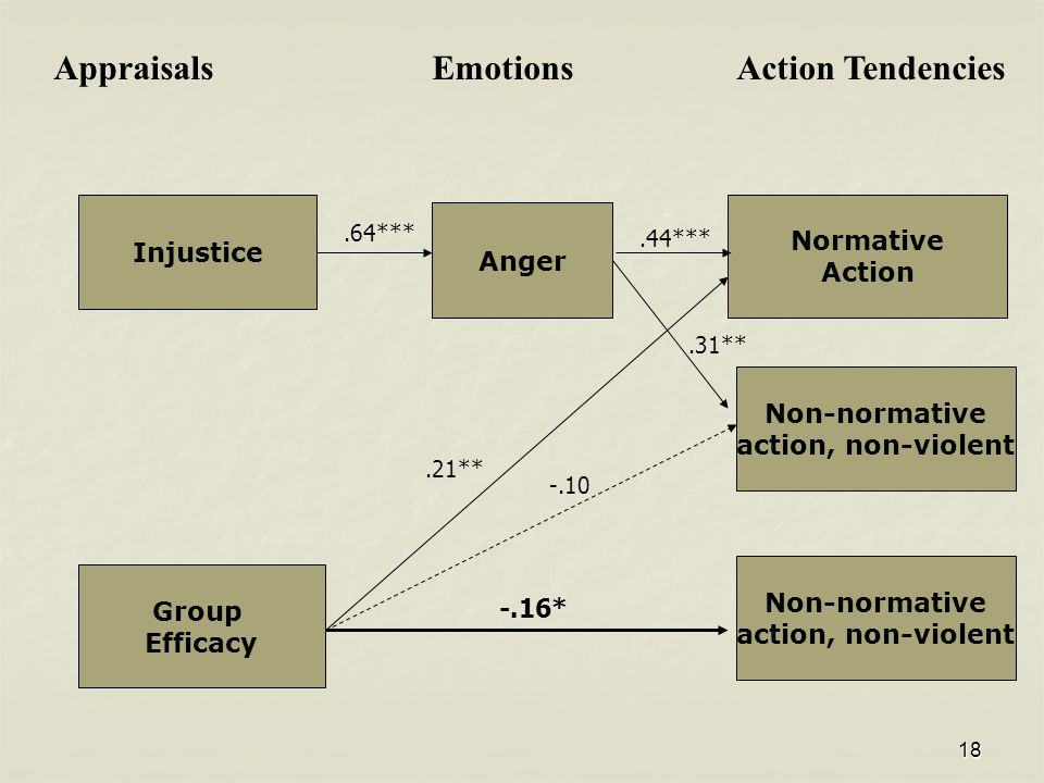 18 Normative Action Non-normative action, non-violent Anger Injustice Appraisals Emotions Action Tendencies Group Efficacy.64*** Non-normative action, non-violent.44***.21** -.10.31** -.16*