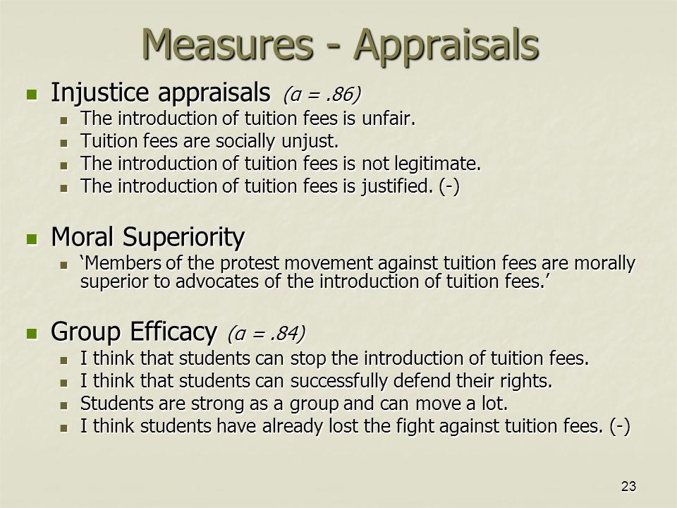 23 Measures - Appraisals Injustice appraisals (α =.86) Injustice appraisals (α =.86) The introduction of tuition fees is unfair.
