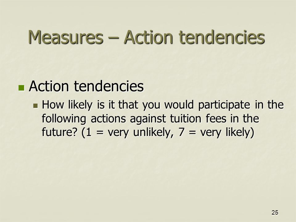 25 Measures – Action tendencies Action tendencies Action tendencies How likely is it that you would participate in the following actions against tuiti