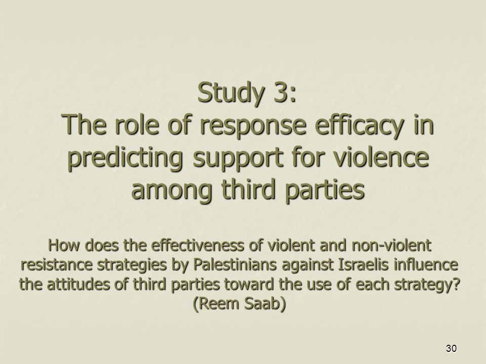 30 Study 3: The role of response efficacy in predicting support for violence among third parties How does the effectiveness of violent and non-violent