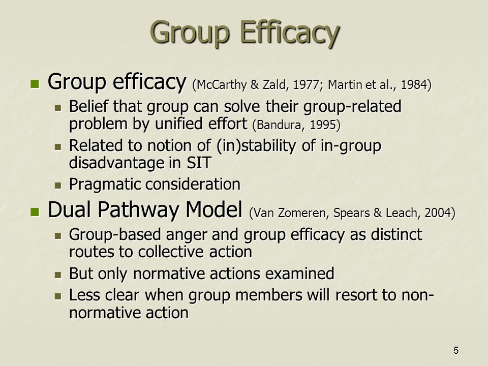 5 Group efficacy (McCarthy & Zald, 1977; Martin et al., 1984) Group efficacy (McCarthy & Zald, 1977; Martin et al., 1984) Belief that group can solve