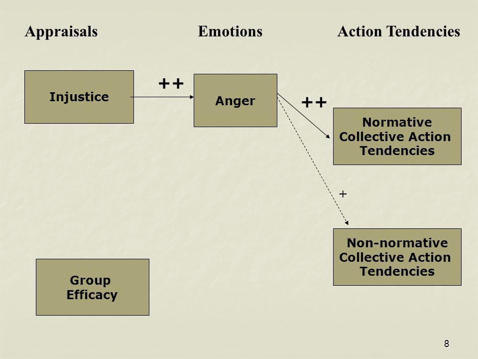 8 Normative Collective Action Tendencies Non-normative Collective Action Tendencies Anger Appraisals Emotions Action Tendencies Group Efficacy ++ + In