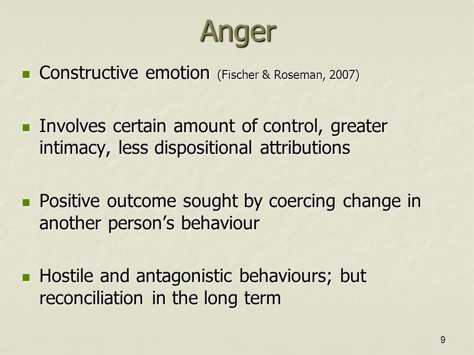 9Anger Constructive emotion (Fischer & Roseman, 2007) Constructive emotion (Fischer & Roseman, 2007) Involves certain amount of control, greater intim