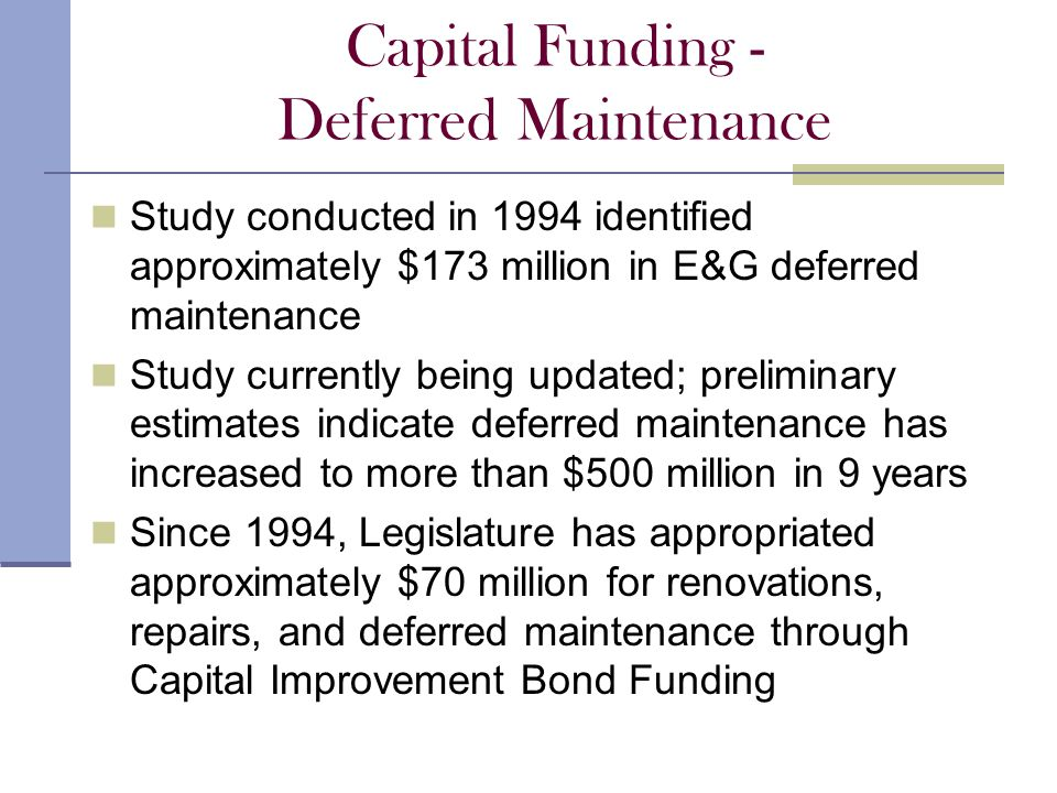 Capital Funding - Deferred Maintenance Study conducted in 1994 identified approximately $173 million in E&G deferred maintenance Study currently being