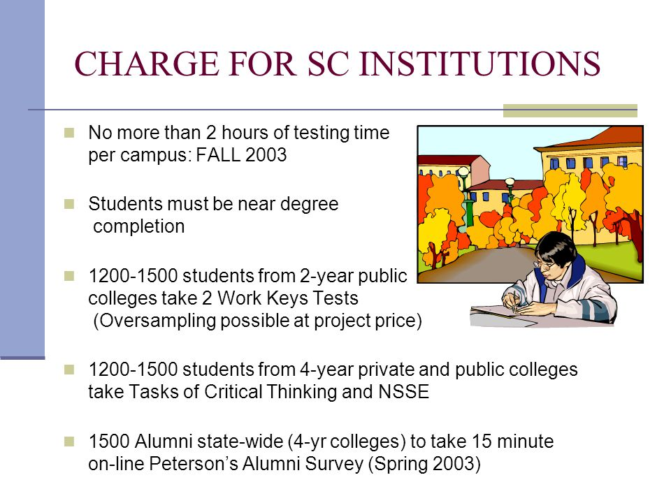 CHARGE FOR SC INSTITUTIONS No more than 2 hours of testing time per campus: FALL 2003 Students must be near degree completion 1200-1500 students from